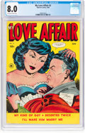 Golden Age (1938-1955):Romance, My Love Affair #3 (Superior Comics, 1950) CGC VF 8.0 Off-white towhite pages....