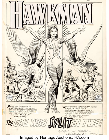 "Murphy Anderson Hawkman #4 Zatanna First Appearance Complete 13-Page Story ""The Girl Who Split In Two!"" Original A... (Total: 13 Original Art)"