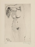 Prints & Multiples:Print, Milton Avery (1885-1965). Nude Combing Hair, from the deluxe edition, 1961. Drypoint on paper. 12-1/4 x 9-3/8 inches (31...