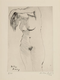 Milton Avery (1885-1965) Nude Combing Hair, from the deluxe edition, 1961 Drypoint on paper 12-1/