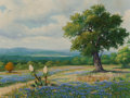 Fine Art - Painting, American, Manuel H. Lopez (American, 20th Century). Bluebonnet Spring,1966. Oil on canvas. 18 x 24 inches (45.7 x 61.0 cm). Signe...