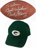 Autographs:Others, Bart Starr Signed Football & Aaron Rodgers Signed Hat....