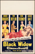 Movie Posters:Drama, Black Widow & Other Lot (20th Century Fox, 1954). Very Fin...