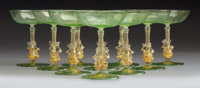 Ten Murano Glass Figural Coupes, Venice, Italy, mid-19th century 5-1/2 x 4-1/4 x 4-1/4 inches (14.0 x 10.8 x 10.8