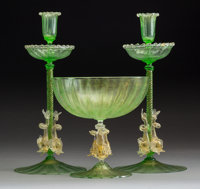 A Group of Three Murano Glass Table Articles, Italy, mid 19th century 14 x 6-1/2 inches (35.6 x 16.5 cm)