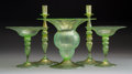 Decorative Arts, Continental, A Five Piece Murano Glass Group, Italy, mid-19th century. 9-1/4 x11 inches (23.5 x 27.9 cm) (vase). ... (Total: 5 Items)