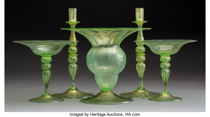 A Five Piece Murano Glass Group Italy Mid 19th Century 9 1 4