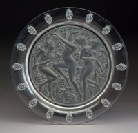 A Lalique Frosted and Clear Glass Cote D'Or Plate, Post-1945 Marks: Engraved L