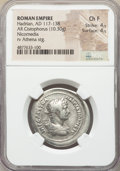 Ancients:Roman Imperial, Ancients: Hadrian (AD 117-138). AR cistophorus (30mm, 10.30 gm,7h). NGC Choice Fine 4/5 - 4/5....