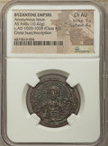 Ancients:Byzantine, Ancients: Anonymous. Class A3. Time of Basil II-Constantine VIII(ca. AD 1020-1028). AE follis (28mm, 10.42 gm, 5h). NGC Choice AU5/5 -...