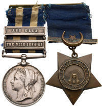 British Egypt Campaign Medal Pair: Egypt Medal and Khedive's Star to a Private in the Coldstream Guards