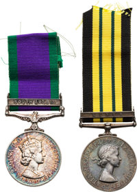British Elizabeth II Campaign Medals Including the Africa General Service Medal with Kenya Clasp and General Service Med...
