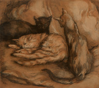 Alfredo Muller (Italian, 1869-1940) Les Trois Chats, 1902 Etching and aquatint on paper 18-1/2 x 20-3/4 inches (47.0