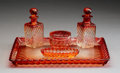 Glass, A Five-Piece Baccarat Glass Rose Tiente Dresser Set, Circa 1900. Marks: Molded BACCARAT, DEPOSE, (various). ... (Total: 5 Items)