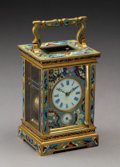 Clocks & Mechanical:Clocks, A French Gilt Bronze Cloisonné Carriage Clock, circa 1900. 7-5/8 x 3-3/4 x 3-1/2 inches (19.4 x 9.5 x 8.9 cm). ...