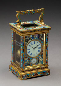 A French Gilt Bronze Cloisonné Carriage Clock, Circa 1900 7-5/8 x 3-3/4 x 3-1/2 inches (19.4 x 9.5 x 8.9 cm)