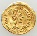 Ancients:Byzantine, Ancients: Justinian I the Great (AD 527-565). AV tremissis (15mm,1.39 gm, 6h). VF, wavy flan. ...