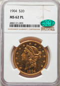 Liberty Double Eagles: , 1904 $20 MS62 Prooflike NGC. CAC. NGC Census: (410/288). MS62. Mintage 6,256,797. ...