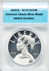 A Lot of Two American Liberty Medals, Silver, 225th Anniversary. The lot includes: 2017-W Enhanced Uncirculated 70 Deep...