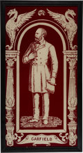 Political:3D & Other Display (pre-1896), James A. Garfield: Dramatic Large Red and White Glass Window.. ...