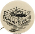 """Political:Pinback Buttons (1896-present), Theodore Roosevelt: Rare Large Size """"Hat in the Ring"""" Cartoon Button.. ..."""