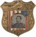 Political:Ferrotypes / Photo Badges (pre-1896), George B. McClellan: Outstanding Unlisted Ferrotype Shield Badge.. ...