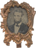 Political:Ferrotypes / Photo Badges (pre-1896), Abraham Lincoln: Unique Ferrotype in Easel Frame.. ...