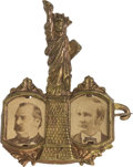 """Political:Ferrotypes / Photo Badges (pre-1896), Cleveland & Hendricks: Exceptional """"Statue of Liberty"""" Jugate.. ..."""