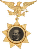 Political:Ferrotypes / Photo Badges (pre-1896), James A. Garfield: Pristine Ferrotype Badge....