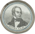 Political:Tokens & Medals, Henry Clay: Pewter-Rim Mirror with Unusual Portrait....