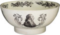 Political:3D & Other Display (pre-1896), George Washington: A Beautiful Liverpool Creamware Bowl with EarlyPortrait.. ...