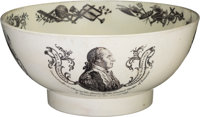 George Washington: A Beautiful Liverpool Creamware Bowl with Early Portrait