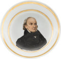 Political:3D & Other Display (pre-1896), John Quincy Adams: Paris Porcelain Hand-Painted Saucer....