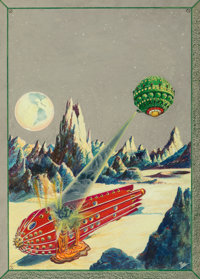 Frank R. Paul (American, 1884-1963) The Moon Conquerors, Science Wonder Quarterly cover, Winter 1930 Watercolor and go...