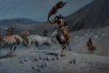 Paintings, Leonard Howard Reedy (American, 1899-1956). Night Raid. Oil on canvas. 23-1/2 x 35-1/2 inches (59.7 x 90.2 cm). Signed l...