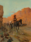 Fine Art - Painting, American, Carl E. Hantman (American, b. 1935). Riders, 1974. Oil oncanvas. 40 x 30 inches (101.6 x 76.2 cm). Signed and dated low...