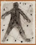 Works on Paper, Ben Shahn (American, 1898-1969). Nude Male. Ink wash on paper laid on board. 12-1/8 x 9-7/8 inches (30.8 x 25.1 cm). Sig...