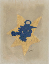 Georges Braque (French, 1882-1963) Tête Grecque, circa 1957 Lithograph with hand coloring on japon paper 15-3/4 x...