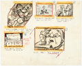 Animation Art:Production Drawing, Ben and Me Storyboard Drawings by Bill Peet (Walt Disney,1953)...