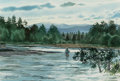 Works on Paper:Watercolor, Brett James Smith (American, b. 1958). Rushing Creek. Watercolor. 14 x 21 inches (35.6 x 53.3 cm). Signed lower left: ...