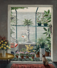 Vicente Viudes (Spanish, 1916-1984) Sunroom with Siamese Cat Oil on canvas 18-1/8 x 15 inches (46