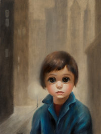 Margaret Keane (American, b. 1927) Waiting in San Francisco Fog Oil on canvas 24 x 18 inches (61
