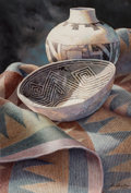 Works on Paper, Carol Hamilton (American, b. 1948). Mesa Verde Bowl. Watercolor on paper. 30 x 20 inches (76.2 x 50.8 cm). Signed lower ...