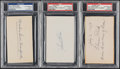 Autographs:Index Cards, Baseball Hall of Famers Signed Index Card Lot of 3, PSA/DNA Authentic....