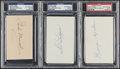 Autographs:Index Cards, Baseball Greats Signed Index Card Lot of 3, PSA/DNA Authentic....