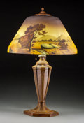 Lighting, American Reverse Painted Glass Lamp. Early 20th century. Ht. 24-1/2 in.. ...
