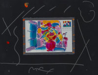 Peter Max (American, b. 1937) Floral Bouquet on Black #2 Lithograph with hand-coloring on black paper 5-1/2 x 8 inche