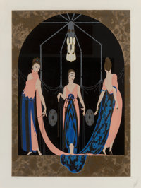 Erté (Romain de Tirtoff) (Russian/French, 1892-1990) Three Graces, 1985 Embossed Serigraph with Foil Stamping on...