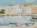 Works on Paper:Modern  (1900 1949), Gustave Nebel (French, 1907-1987). Port de Mediterranean. Gouache on paper. 12-1/2 x 16-1/2 inches (31.8 x 41.9 cm). Sig...