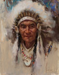 Works on Paper, Harley Brown (American, b. 1939). Chief of the Stonys. Pastel on paper. 17 x 13-3/4 inches (43.2 x 34.9 cm) (sight). Sig...